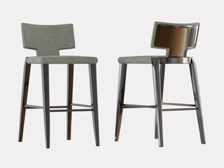Two high bar stool on a white background 3d rendering