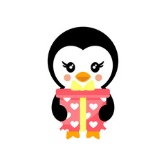 valentines day cartoon penguin with lovely present