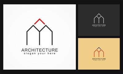 letter m arrow architecture vector logo