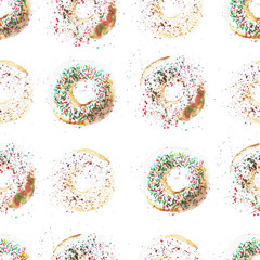 Pattern of watercolor elements. Sweet donuts with a white glaze. Illustration. Pattern for textile