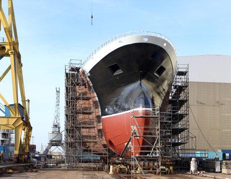 New big ship on dry dock in shipyard