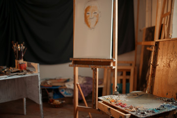 Artist workshop interior, painter studio