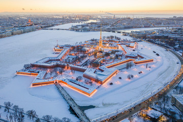 Evening winter aerial view, Peter and Paul Fortress, Neva river, Saint Petersburg, Russia