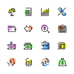 Set of icons on the theme of money, bank, investment