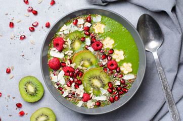 Healthy Breakfast Detox Green Smoothie with Banana and Spinach in a Bowl, Top View