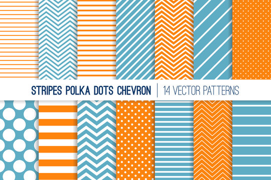Turmeric Orange, Blue and White Polka Dot, Chevron and Diagonal and Horizontal Stripes Vector Patterns. Modern Minimal Backgrounds. Various Size Spots and Lines. Tile Swatches Included.