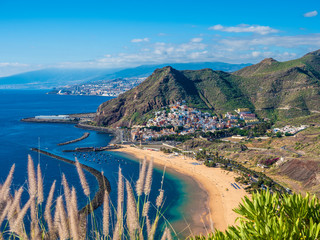 View of Las Teresitas and San Andres village, Tenerife, Canary Islands, Spain