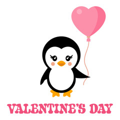 valentines day cartoon penguin with lovely balloon and text