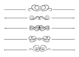 Vector Set of design Elements, Black Decorative Lines Isolated on White Background, Calligraphic Swirls.