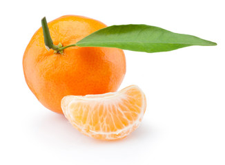 Tangerine with leaf and peeled slice isolated on white background