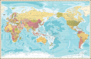 Wall Mural - World Map Vintage Color Pacific Centred