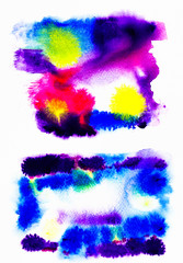 Abstract watercolor stains and pouring for background
