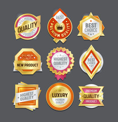 Quality Label Badge Best Set. Premium Mark Seller Certificate Stamp Design. Award Symbol Gold Element Collection. Royal Luxury Product Guarantee Emblem Sticker Isolated Vector Illustration