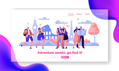 People Group Travel Take Photo Sight Landing Page Template. Happy Man Character in Vacation with Backpack, Camera and Map Concept for Website or Web Page. Flat Cartoon Vector Illustration