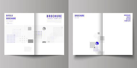 The vector layout of two A4 format modern cover mockups design templates for bifold brochure, magazine, flyer, booklet, annual report. Abstract vector background with fluid geometric shapes.