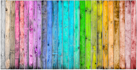 Multicolored wooden background with a wide range of saturated colors.
