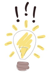 Light bulb with exclamation marks