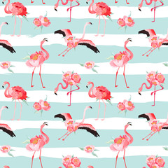 Tropical Flamingo seamless vector summer pattern with peony flowers. Floral and Bird background for wallpapers, web page, texture, textile, backdrop