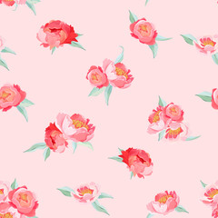 Peony Flowers seamless vintage vector summer pattern. Floral background for wallpapers, web page, texture, textile, backdrop