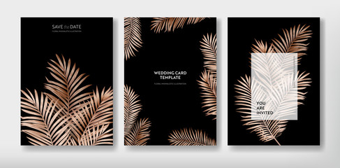 Tropical trendy greeting or invitation card template design, set of poster, flyer, brochure, cover, party advertisement, golden palm leaves in vector