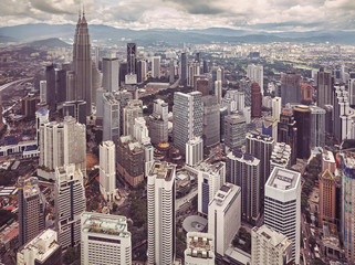 Kuala Lumpur skyline, color toned picture, Malaysia.