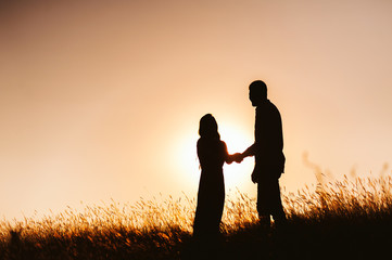 Couple silhouette in meadow on sunset, or sunrise
