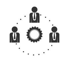 Flat management team icon for web design.