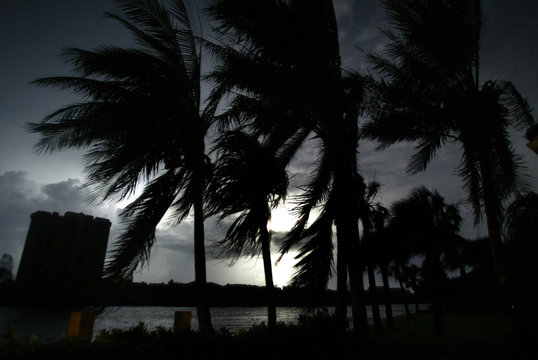 Lights are out as lightning strikes after Hurricane Frances in Florida.