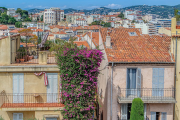 View view of old streets in Cannes, Cote dAzur, French, Riviera, South of France, Europe
