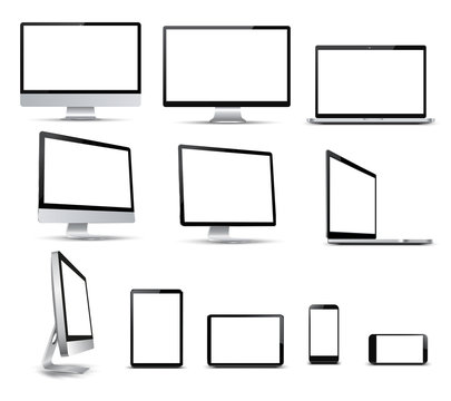 Set technology devices with white display, view from the side - for stock