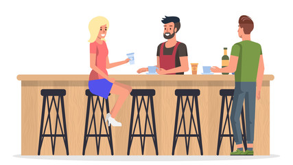 People at Bar Interior. Vector Flat Illustration.