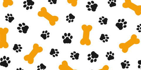 Black trace of dog paw pattern with paw footprints and bones, dog bone background isolated illustration cartoon repeat wallpaper – stock vector