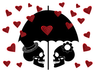 Skull icon wedding couple background with umbrella and heart rain