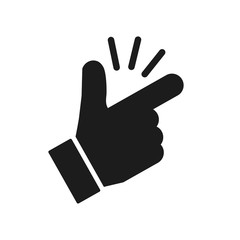 It's simple - finger snap icon in flat style. Easy icon. Finger snapping click flick hand gesture - stock vector