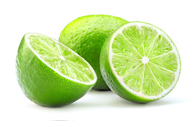 Wall Mural - fresh green lime fruit isolated on white background