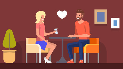 Romantic Date in Cafe. Girl Meeting Boyfriend Flat
