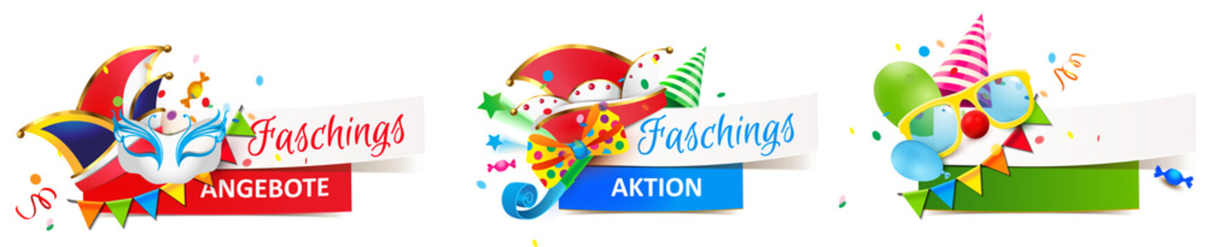 Banner Set mit Fasching Dekoration - Faschingsangebote, Faschingsaktion
