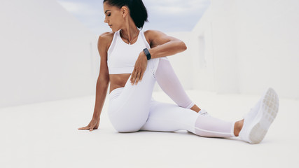 Athletic woman doing fitness training