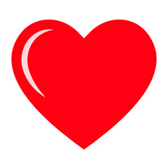 Red heart icon, love icon. Isolated vector illustration on white background.