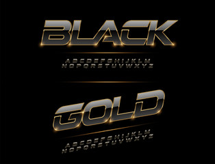 Obraz Elegant Sport Black, Silver and Golden Metal Chrome Alphabet Font. Typography modern style gold font for technology, digital, movie logo design. vector illustration - fototapety do salonu