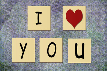 Tile With I Love You on Textured Background