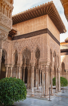 Lions court in the royal palace Nazaries in Alhambra, Granada, Andalucia, Spain