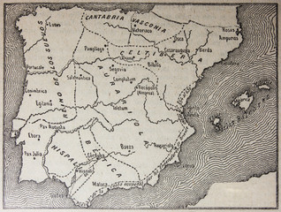 Hispania map under Leovigild rule from 572 to 586