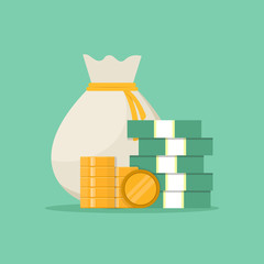 Money bag, stack of paper money and coins, flat design vector illustration