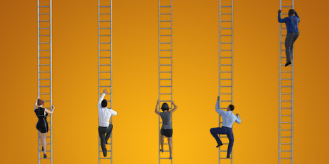Business People Climbing Ladders 3D Render