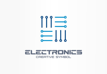Electronics creative symbol concept. Digital technology, software, hardware upgrade, app abstract business logo. Circuit board, interface menu icon