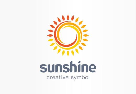Sunshine creative symbol concept. Sunlight, solarium, sunblock cream, protection screen abstract business logo. Summer sunrise, sun rays icon