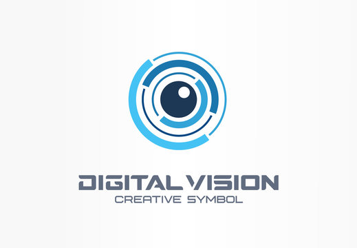 Digital vision creative symbol concept. Eye iris scan, vr system abstract business logo. Cctv monitor, security control, video camera lens icon.
