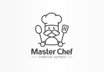 Master chef creative symbol concept. Cook mustache and hat, cafe menu, restaurant kitchen abstract business logo. Baker, spoon tasty food icon