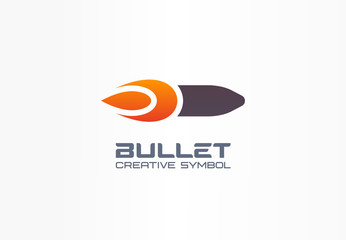 Bullet creative symbol concept. Fire power flame shape in abstract business military logo. Gunshot target, gun flash, speed army flying weapon icon.